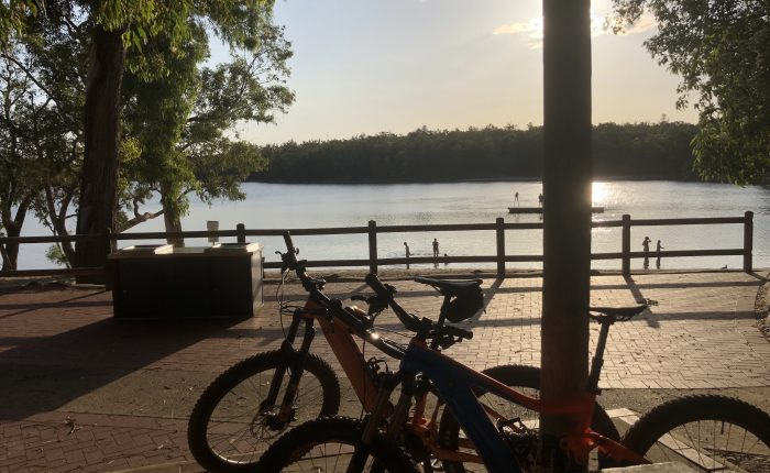 Late afternoon photo bikes looking over Lake Leschenaultia