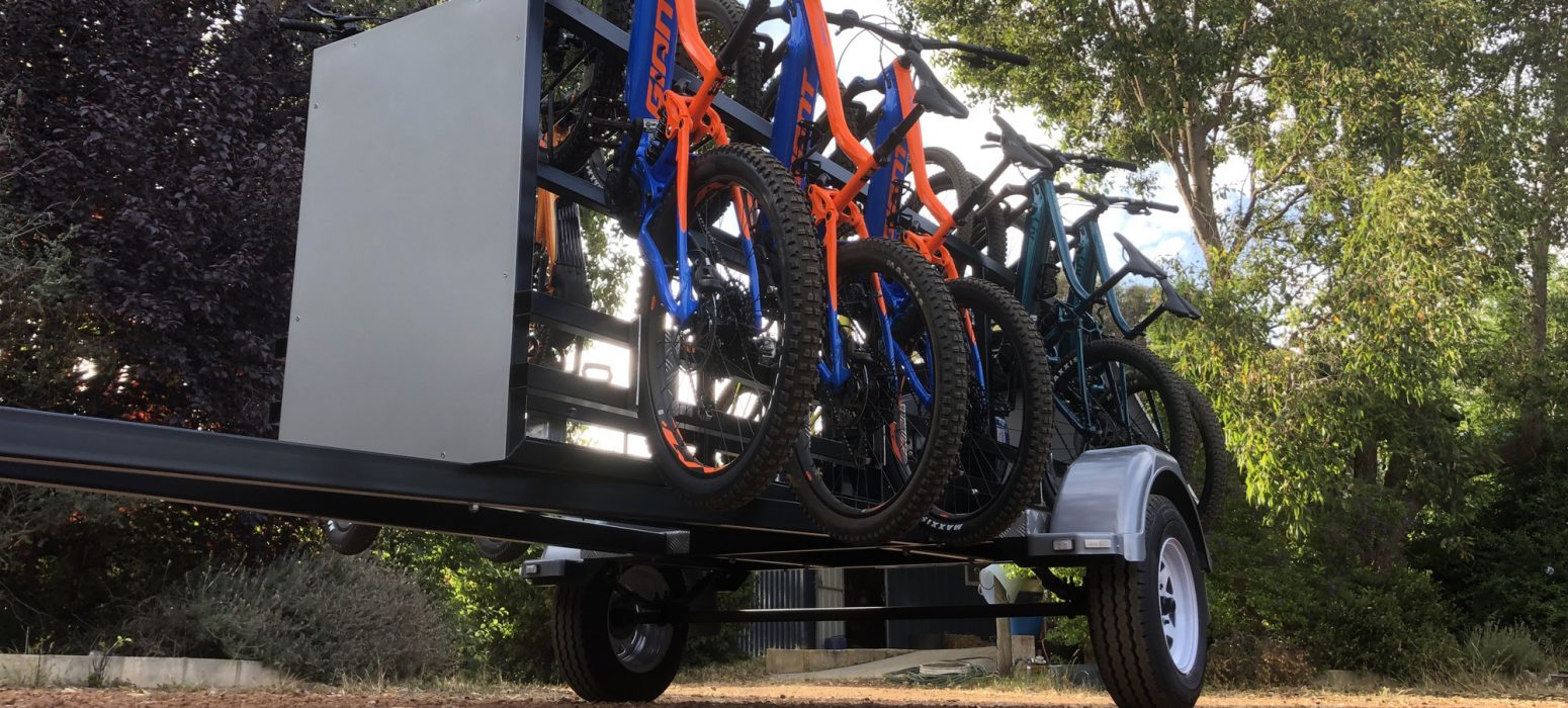 Perth Hills Mountain Bike Trailer with new Giant E mountain bikes ready for sign writing .