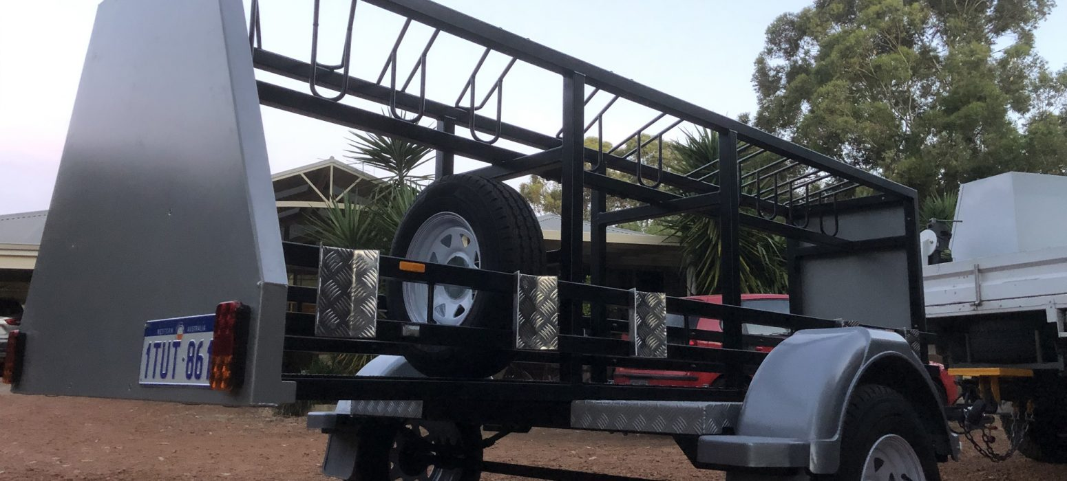Perth Hills Mountain bike Trailer finished , main frame powder coated in matt black , all panels are silver , ready for sign writing.